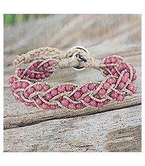 rhodonite braided bracelet, 'pink hydrangea' (thailand)