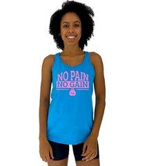 regata feminina alto conceito no pain no gain kg azul piscina - azul - feminino - algodã£o - dafiti