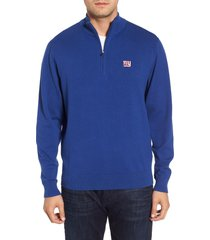cutter & buck new york giants - lakemont regular fit quarter zip sweater, size xx-large in tour blue at nordstrom