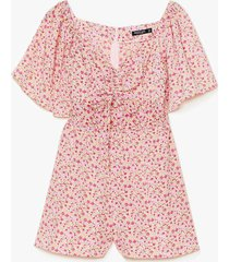 womens read my tulips floral relaxed romper - pink