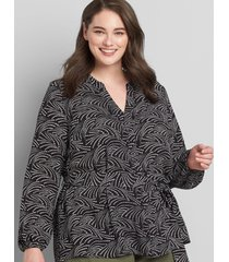 lane bryant women's printed button-front belted top 30/32 small dot cascade