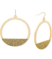 steve madden gold-tone rhinestone open circle drop earrings