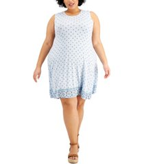 style & co plus size printed flip-flop dress, created for macy's