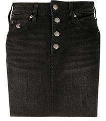 calvin klein jeans mid-rise denim mini skirt - black