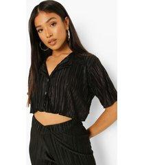 petite korte plisse blouse met shirtmouwen, black