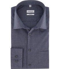 overhemd seidensticker blauw structuur regular fit
