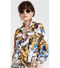 jacket with hawaiian floral print - white - xl