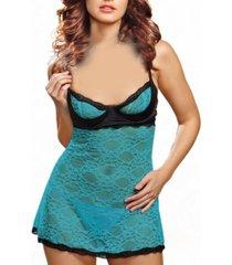 women's contrast half cup babydoll lingerie set