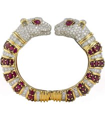 ruby and diamond twin cheetah bracelet