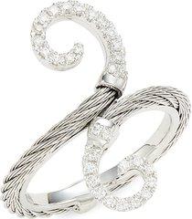 alor women's 18k white gold, stainless steel & diamond ring - size 7