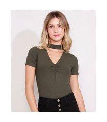 blusa feminina básica canelada manga curta choker verde militar