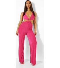 strakke wide leg jumpsuit met o-ring en textuur, hot pink
