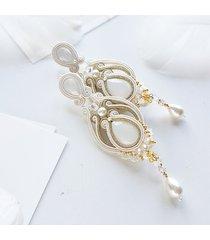 ślubne kandelabry perłowe - kolczyki sutasz