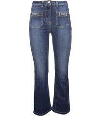 elisabetta franchi mini flare jeans with gold brackets