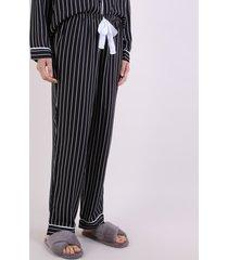 calça de pijama feminina reta listrada com cordão preta