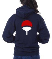 uchiha on back only uchiha clan symbol naruto unisex pullover hoodie navy