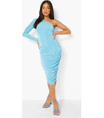 petite strakke midi jurk met eén blote schouder en textuur, turquoise