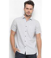 camisa manga curta forum linho listrada slim fit masculina