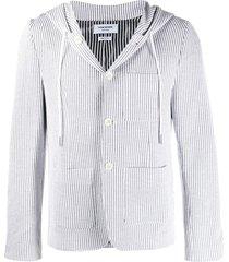 thom browne seersucker striped hooded sport blazer - grey