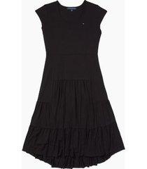 tommy hilfiger women's essential solid tiered midi dress black - s
