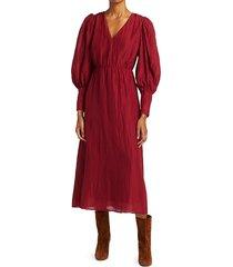 sea women's tessa long-sleeve midi dress - merlot - size 0