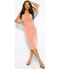 twist front textured slinky ruched midi dress, peach