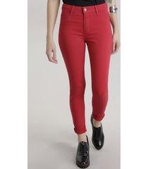 calça de sarja feminina super skinny sawary vermelha
