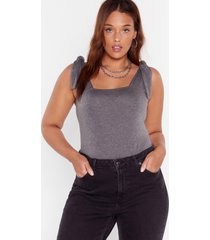 womens let's tie that again square neck plus bodysuit - charcoal