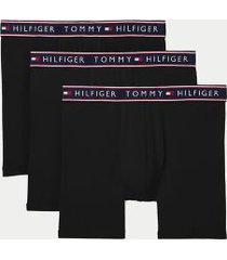 tommy hilfiger men's cotton stretch boxer brief 3pk black - m