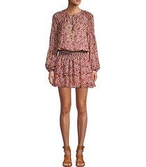 floral silk blend mini a-line dress