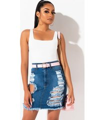 akira outta my head distressed mini skirt