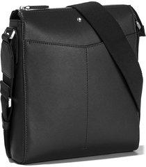 men's montblanc sartorial leather messenger bag - black