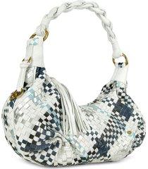fontanelli designer handbags, blue & white woven leather east/west hobo bag