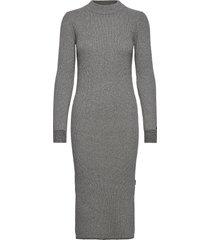 ls roll neck knitted midi dress jurk knielengte grijs calvin klein