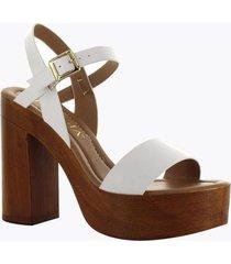 sandalia tacón madera blanca perugia 11304do-bl