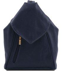 tuscany leather tl140962 delhi - zaino in pelle morbida blu scuro