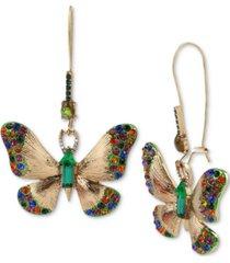 betsey johnson gold-tone multicolor crystal butterfly drop earrings