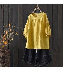 zanzea mujeres más tamaño normal básico de cuello redondo camisetas superiores camisa oficina de trabajo de la blusa del algodón -amarillo