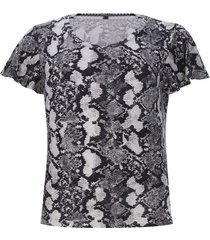 camiseta mujer estampada piton color negro, talla 10