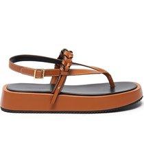 braid strap platform leather sandals
