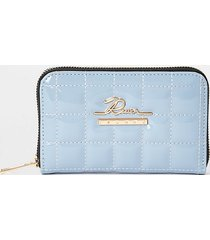 river island womens blue patent quilted ziparound purse