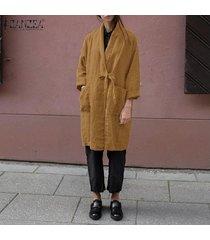 zanzea mujeres spring cardigan kimono tie up loose plus size tunic coat hot -caqui