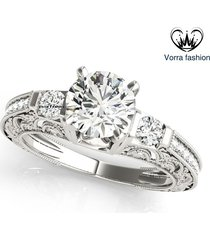 1 ct diamond round cut 14k white gold plated 925 silver engagement wedding ring