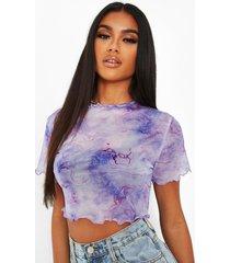 mesh t-shirt met opdruk, paars