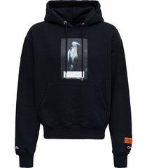 heron preston black cotton hoodie with print