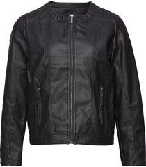 imitated leather jacket läderjacka skinnjacka svart zizzi