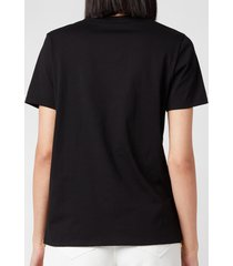 balmain women's 3 button metallic logo t-shirt - noir/or - m