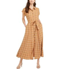 calvin klein plaid gauze maxi dress