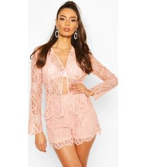 occasion lace collarless blazer, blush