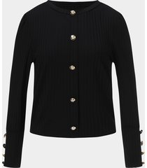 diseño de botones negros suéteres de manga larga con cuello redondo